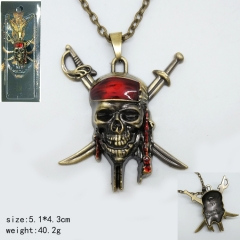 Popular Movie Pirates Of The Caribbean Anime Bronze Fancy Necklace