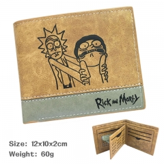Rick and Morty Cartoon Purse Bi-fold Contrast Color Anime Short Wallet 60g