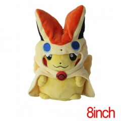 Pokemon Pikachu Cos Victini Cartoon Doll Japanese Anime Plush Toys 8Inch