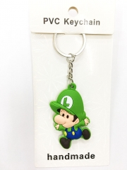 Super Mario Bro Children Luigi Cartoon Pendant Keyring Handmade Game Two-side Anime PVC Keychian