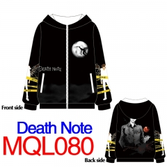 Death Note Print Long Sleeve Warm Cosplay Anime With Hat Hoodie