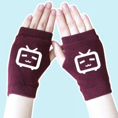 Bilibili Cute Print White TV Wine Color Anime Knitted Gloves 14*8CM