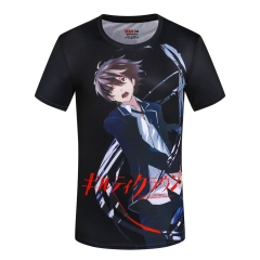 Guilty Crown Black Cartoon Short Sleeve Wholesale Anime T-shirt