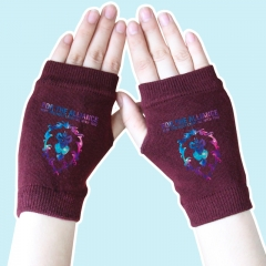 World of Warcraft Star Sky Lion Wine Color Half Finger Anime Knitted Gloves 14*8CM