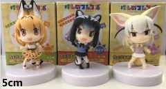 Kemono Friends 5cm Cartoon Kawaii Toys 3 Design Anime Figure Set