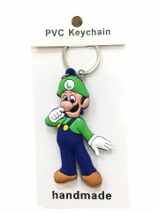 Super Mario Bro Luigi Cartoon Pendant Keyring Handmade Two-side Game Anime PVC Keychian