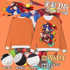 Blood Blockade Battlefront Cosplay Colorful Velvet Anime Hoodie