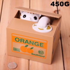 Orange Cat Funny Stealing Money For Kids Toy Anime Money Pot