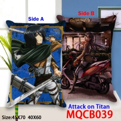 Attack on Titan Cartoon Cosplay Anime Print Two Sides High Quality Pillow 45*45CM