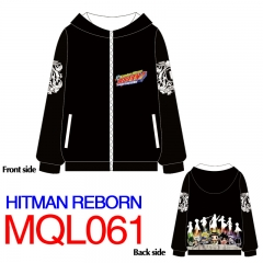 Hitman Reborn Japanese Cartoon Print Warm Long Sleeve Anime With Hat Hoodie