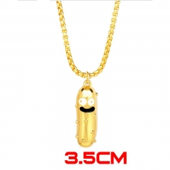Rick and Morty Creativity Jewelry Golden Cucumber Pickle Model Anime Alloy Necklace 30g