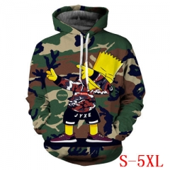 The Simpsons Cute American Cartoon Camouflage Long Sleeve Warm Anime Hooded Hoodie
