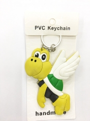 Super Mario Bro Paratroopa Cartoon Pendant Keyring Handmade Game Two-side Anime PVC Keychian