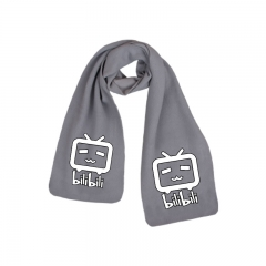 Bilibili Cute Print White TV Gray Anime High Quality Fashion Scarf