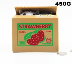 Strawberry Cat Funny Stealing Money For Kids Toy Anime Money Pot
