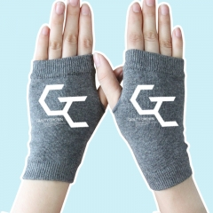 Super Power Cartoon Guilty Crown Half Finger Gray Anime Knitted Gloves 14*8CM