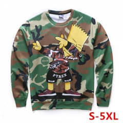 The Simpsons Cute American Cartoon Camouflage Round Neck Long Sleeve Warm Anime Hoodie
