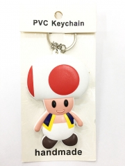 Super Mario Bro Toad Cartoon Pendant Keyring Handmade Game Two-side Anime PVC Keychian