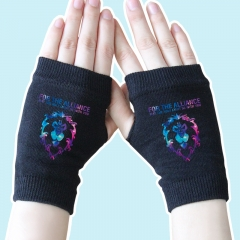 World of Warcraft Star Sky Lion Black Half Finger Anime Knitted Gloves 14*8CM