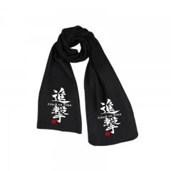 Attack on Titan Print Black Words Higfh Quality Wholesale Fashion Anime Scarf