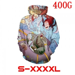 Rick and Morty High Quality 3D Printed Sweatshirts Anime Hooded Hoodie 400g