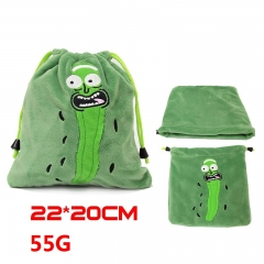 Rick and Morty Cucumber Pickle Cartoon Green Plush Anime Drawstring Bag 55g