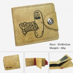 Rick and Morty Cucumber Pickle Cartoon PU Purse Bi-fold Snap-fastener Anime Wallet 60g