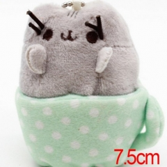 Pusheen the Cat Cartoon Stuffed Doll With Cup Cute Design Anime Plush Toys 7.5CM