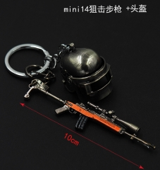 Player Unknown's Battle Grounds New Arrivals Wholesale Pendant Mini Sniper Rifle Helmet Anime Alloy Keychain 10CM