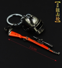 Player Unknown's Battle Grounds New Arrivals Pendant 98K Sniper Rifle Helmet Anime Keychain 11CM