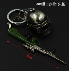 Player Unknown's Battle Grounds Cool Design Pendant AWM Sniper Rifle Helmet Anime Alloy Keychain 10CM
