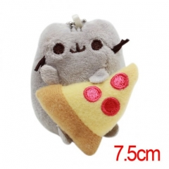 Pusheen the Cat Cartoon Stuffed Doll With Pizza Cute Design Anime Plush Toys 7.5CM