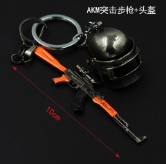 Player Unknown's Battle Grounds Fashion Good Quality Alloy Pendant AKM Assault Rifle Helmet Anime Keychain 10CM