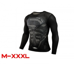 DC Comics Superman Cosplay Movie For Men 3D Anime Sports Tights Long Sleeve T shirt