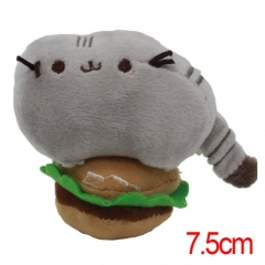 Pusheen the Cat Cartoon Stuffed Doll With Hamburger Cute Design Anime Plush Toys 7.5CM