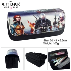 The Witcher Game Multifunctional Cartoon Anime Zipper PU and Canvas Pencil Bag
