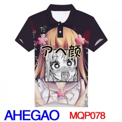 Anime AHEGAO Cosplay Print T Shirts Wholesale Anime Short Sleeves Polo T Shirts