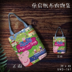 Peppa Pig Cosplay Cartoon Cute For Girl Canvas Anime Casual Shoulder Shopping Bag