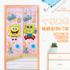 SpongeBob SquarePants Cosplay Catoon Cute Color Printing Cotton-flax Anime Curtain