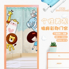 Catoon Animal Cosplay Cute Color Printing Cotton-flax Anime Curtain