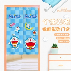 Doraemon Cosplay Japanese Catoon Color Printing Cotton-flax Anime Curtain