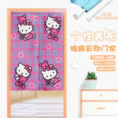 Hello Kitty Cosplay Catoon Cute Color Printing Cotton-flax Anime Curtain