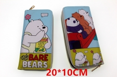 We Bare Bears Anime PU Leather Zipper Wallet