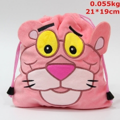 Pink Panther Cosplay Cartoon Cute Anime Drawstring Pocket Plush Bag