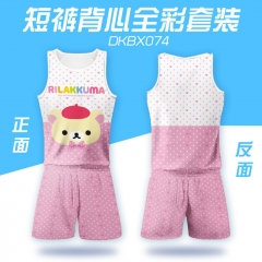Cute Rilakkuma Soft Pink Sports Cartoon Vest And Short Pants