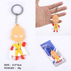One Punch Man Q Version Two Sides Soft PVC Anime Keychain