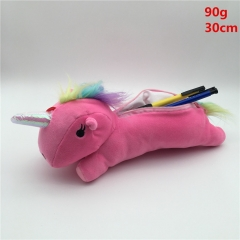The Unicorn Pink Plush Pencil Bag with Zipper Anime Plush Toys 30cm