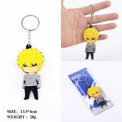 One Punch Man Genos Two Sides Soft PVC Anime Keychain