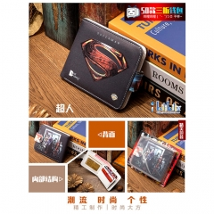 Superman Cosplay Movie High Quality PU Purse Anime Folding Wallet 10*12cm