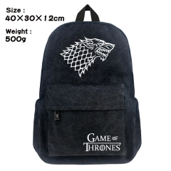 Game of Thrones Movie Bag Black Canvas Anime Backpack Bags